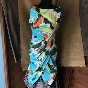 Maggy London Abstract Fitted Floral Dress